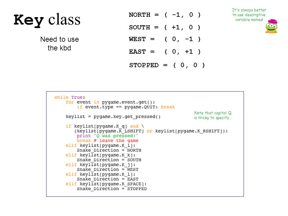 Key class It s always better to use descriptive variable names.