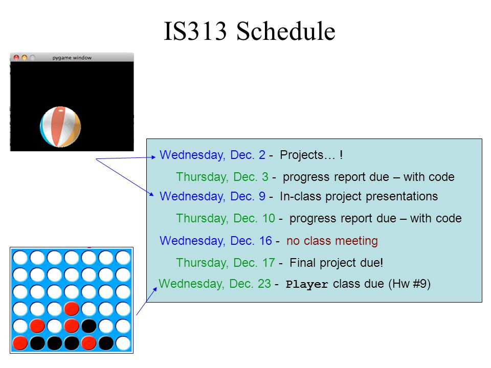 IS313 Schedule Wednesday, Dec. 2 - Projects… . Thursday, Dec.