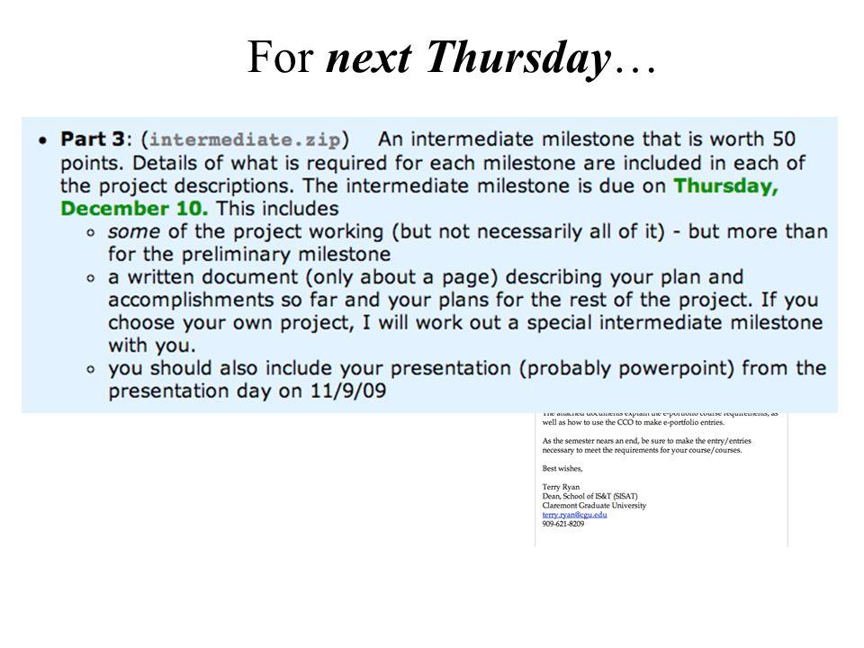 For next Thursday…