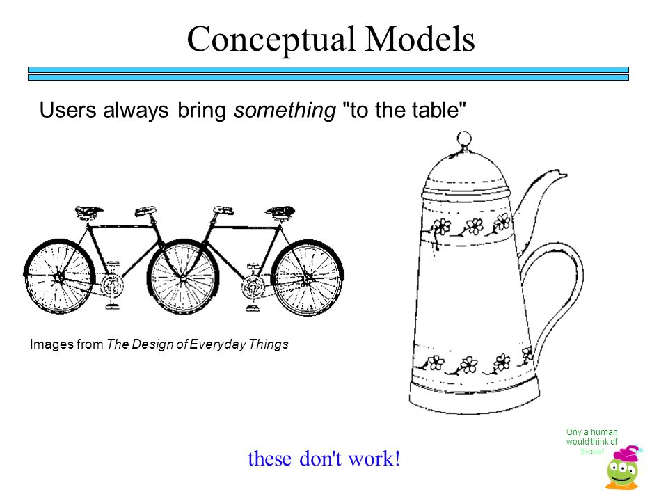Conceptual Models Users always bring something to the table these don t work.