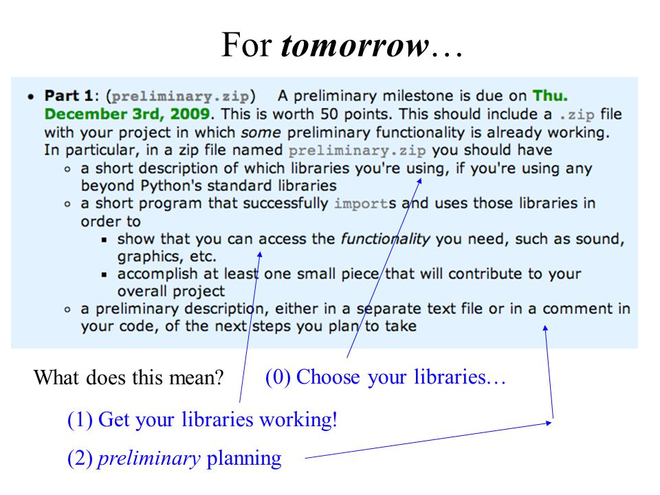 For tomorrow… What does this mean. (1) Get your libraries working.