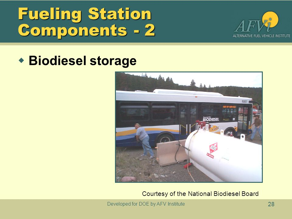 Developed for DOE by AFV Institute 28 Fueling Station Components - 2  Biodiesel storage Courtesy of the National Biodiesel Board