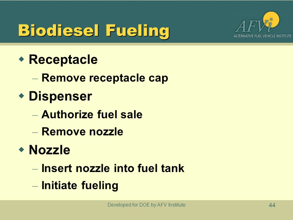 Developed for DOE by AFV Institute 44 Biodiesel Fueling  Receptacle – Remove receptacle cap  Dispenser – Authorize fuel sale – Remove nozzle  Nozzle – Insert nozzle into fuel tank – Initiate fueling
