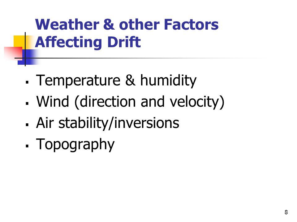 7 Factors Affecting Drift Spray CharacteristicsEquipment & Application HerbicideNozzle type FormulationNozzle size AdditivesNozzle orientation Drop si