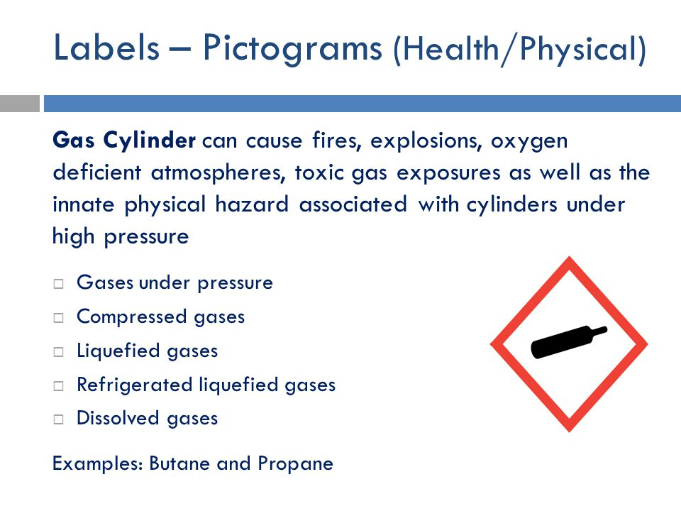 Labels – Pictograms (Health/Physical) Gas Cylinder can cause fires, explosions, oxygen deficient atmospheres, toxic gas exposures as well as the innat