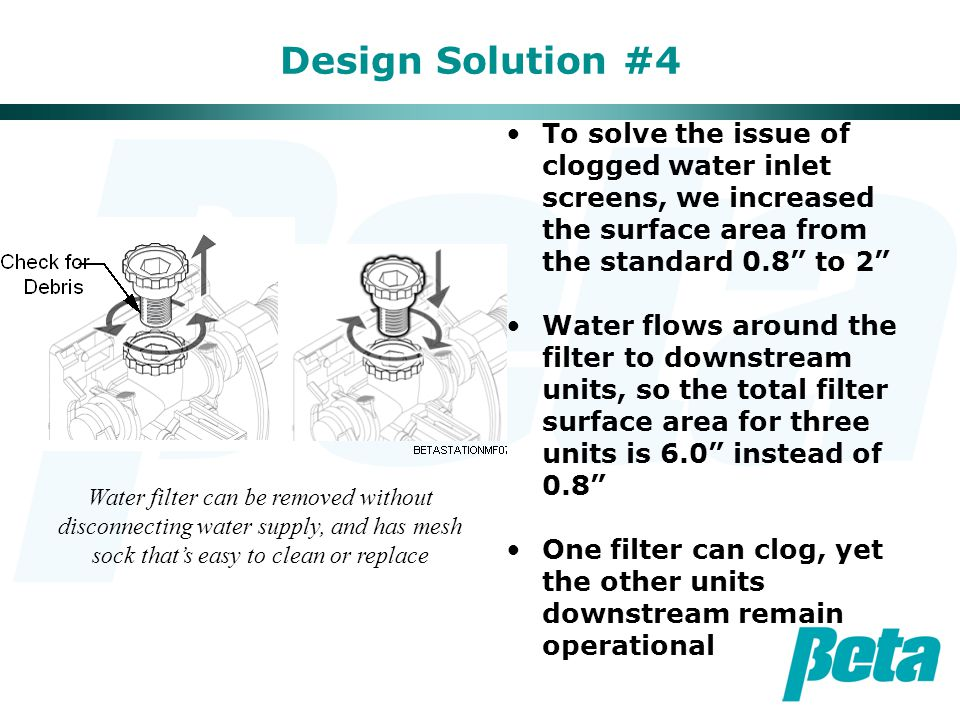 """Design Solution #4 To solve the issue of clogged water inlet screens, we increased the surface area from the standard 0.8"""" to 2"""" Water flows around th"""