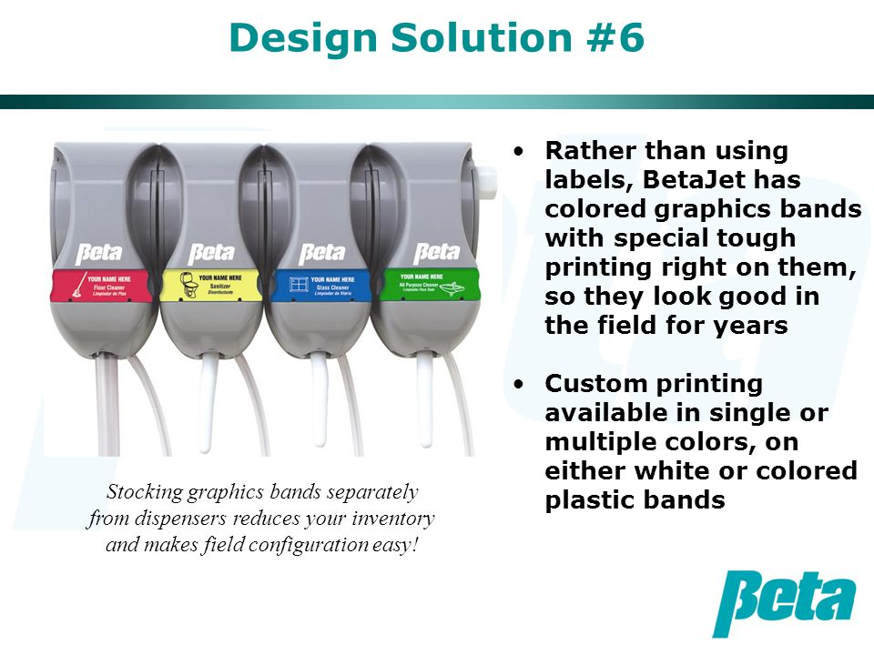 Design Solution #6 Rather than using labels, BetaJet has colored graphics bands with special tough printing right on them, so they look good in the fi