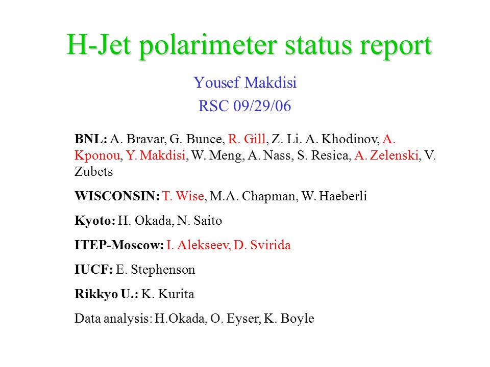 H-Jet polarimeter status report Yousef Makdisi RSC 09/29/06 BNL: A. Bravar, G. Bunce, R. Gill, Z. Li. A. Khodinov, A. Kponou, Y. Makdisi, W. Meng, A.