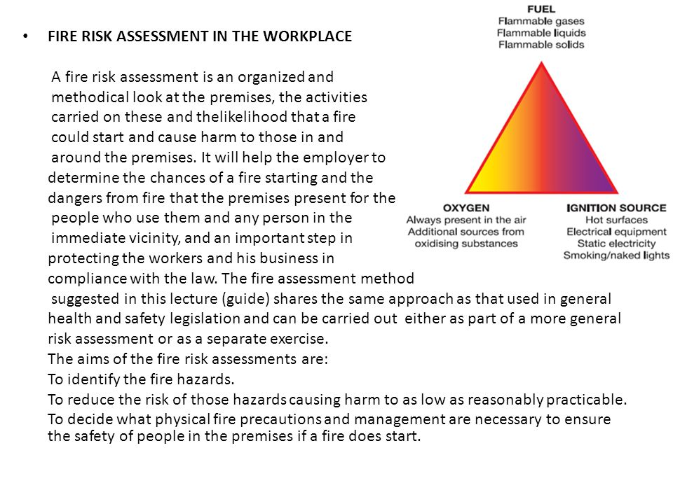 FIRE RISK ASSESSMENT IN THE WORKPLACE A fire risk assessment is an organized and methodical look at the premises, the activities carried on these and thelikelihood that a fire could start and cause harm to those in and around the premises.