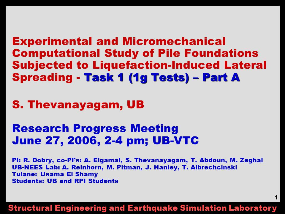 Structural Engineering and Earthquake Simulation Laboratory 2 Agenda – 6/27/06 Review of Minutes (ST, RD) Schedule (Updated 05/2006) – No Change UB Progress (ST) Equipment Setup (NE, MP) Sand Construction & Density Control (NE) Updated Instrumentation & Coordination (NE, ST, TA) Non-Destructive Shaking (MP, MZ, AE) Sloping Ground – Ground Motion (MG, AE) Decision - Pile size, thickness, etc.