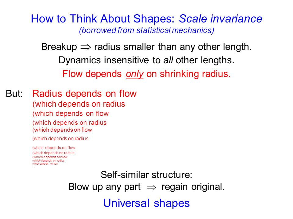 How to Think About Shapes: Scale invariance (borrowed from statistical mechanics) Breakup  radius smaller than any other length. Dynamics insensitiv