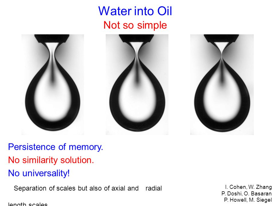 Water into Oil Not so simple Persistence of memory.