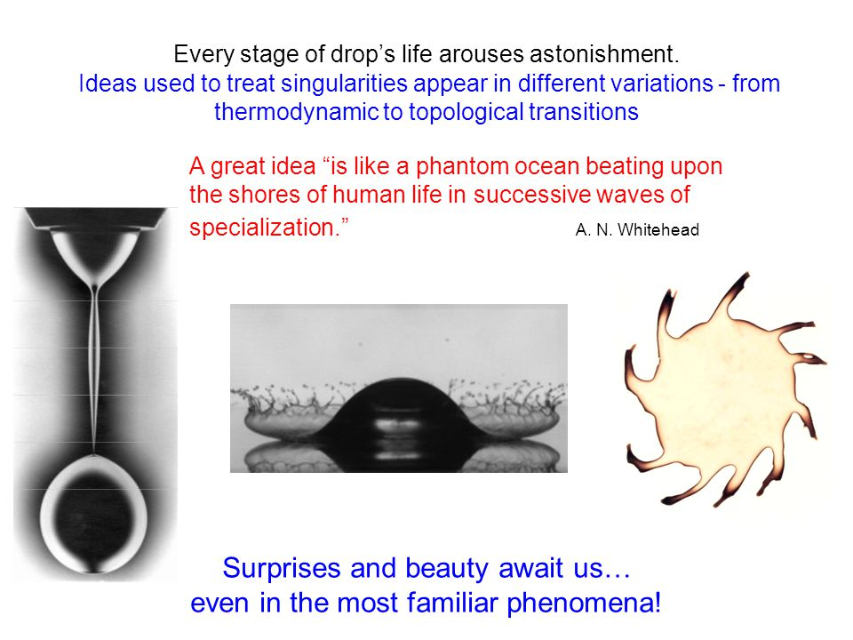 Every stage of drop's life arouses astonishment. Ideas used to treat singularities appear in different variations - from thermodynamic to topological