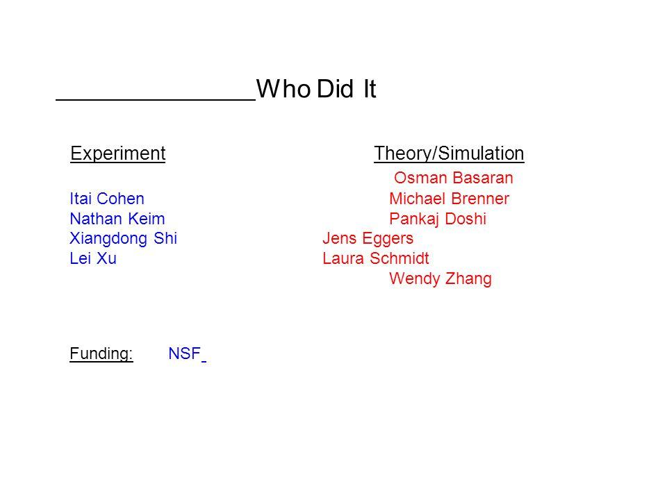Who Did It Experiment Theory/Simulation Osman Basaran Itai Cohen Michael Brenner Nathan KeimPankaj Doshi Xiangdong Shi Jens Eggers Lei Xu Laura Schmidt Wendy Zhang Funding: NSF