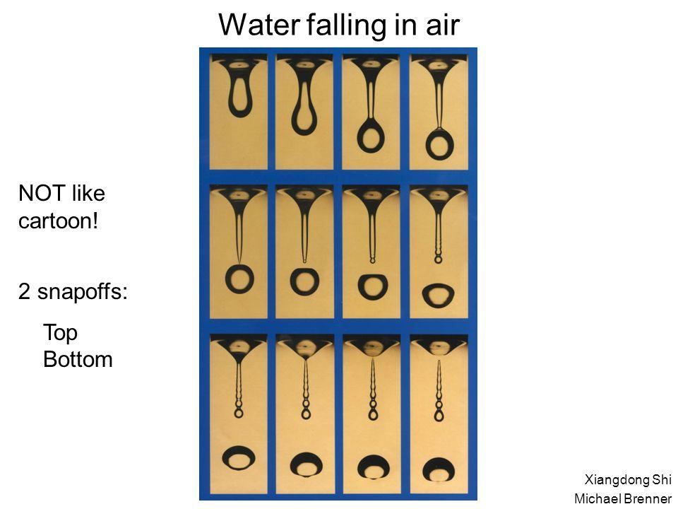 Water falling in air NOT like cartoon! 2 snapoffs: Top Bottom Xiangdong Shi Michael Brenner