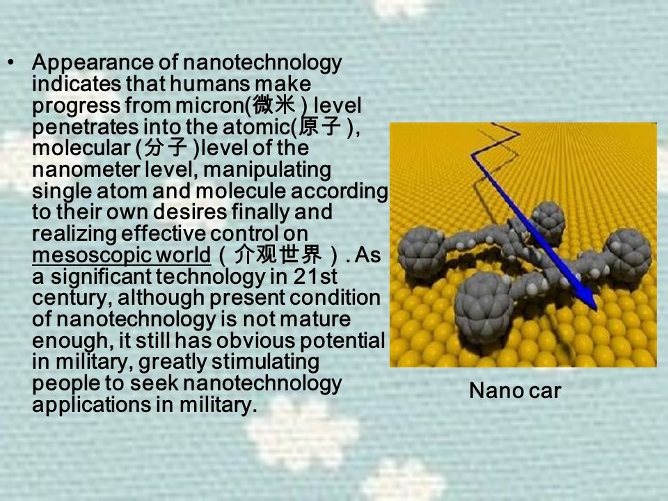 Appearance of nanotechnology indicates that humans make progress from micron( 微米 ) level penetrates into the atomic( 原子 ), molecular ( 分子 )level of the nanometer level, manipulating single atom and molecule according to their own desires finally and realizing effective control on mesoscopic world (介观世界).