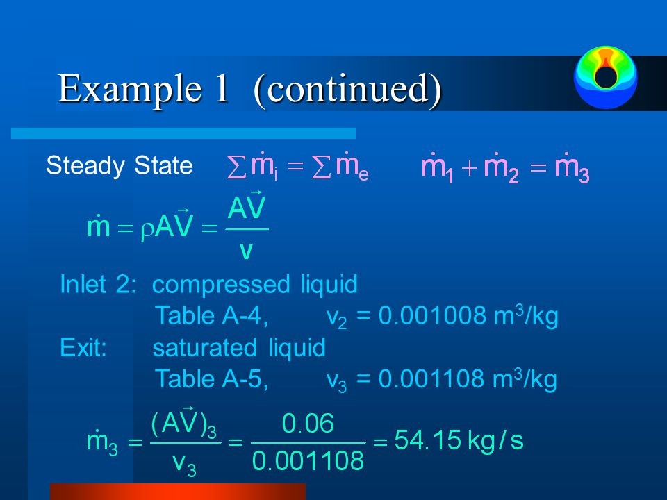 Example 1 (continued) Steady State Inlet 2: compressed liquid Table A-4,v 2 = 0.001008 m 3 /kg Exit: saturated liquid Table A-5,v 3 = 0.001108 m 3 /kg