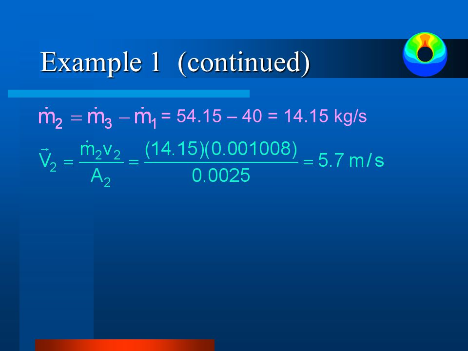 Example 1 (continued) = 54.15 – 40 = 14.15 kg/s