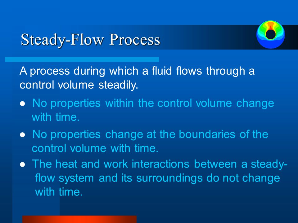 Steady-Flow Process A process during which a fluid flows through a control volume steadily.