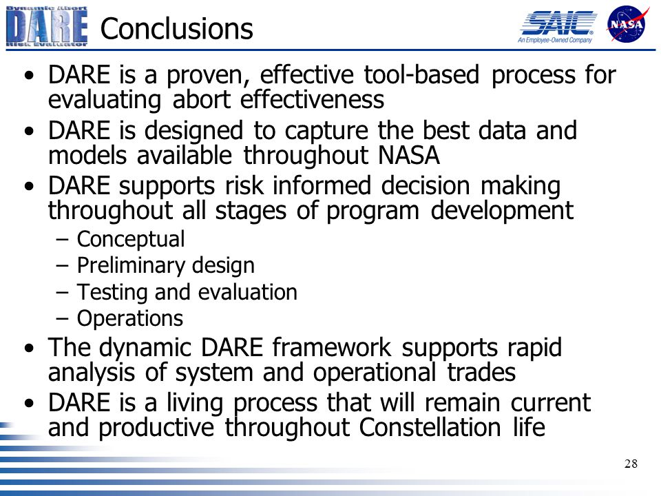 28 Conclusions DARE is a proven, effective tool-based process for evaluating abort effectiveness DARE is designed to capture the best data and models available throughout NASA DARE supports risk informed decision making throughout all stages of program development –Conceptual –Preliminary design –Testing and evaluation –Operations The dynamic DARE framework supports rapid analysis of system and operational trades DARE is a living process that will remain current and productive throughout Constellation life