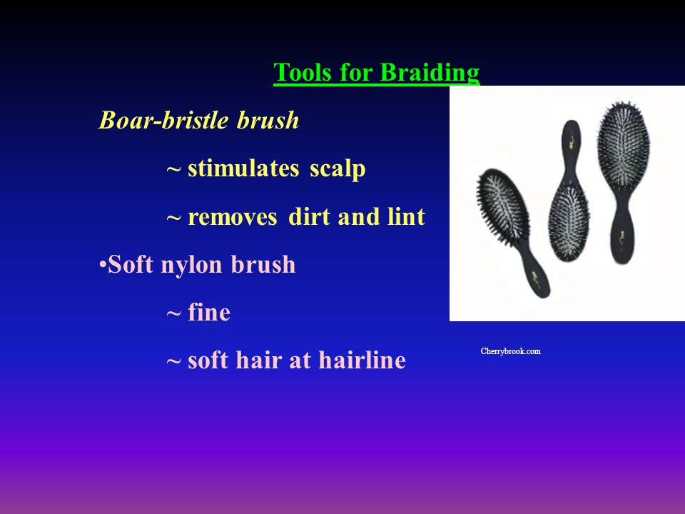 Tools for Braiding Boar-bristle brush ~ stimulates scalp ~ removes dirt and lint Soft nylon brush ~ fine ~ soft hair at hairline Cherrybrook.com