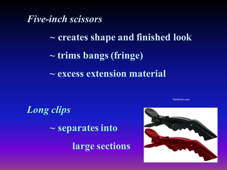 Five-inch scissors ~ creates shape and finished look ~ trims bangs (fringe) ~ excess extension material Long clips ~ separates into large sections Sle