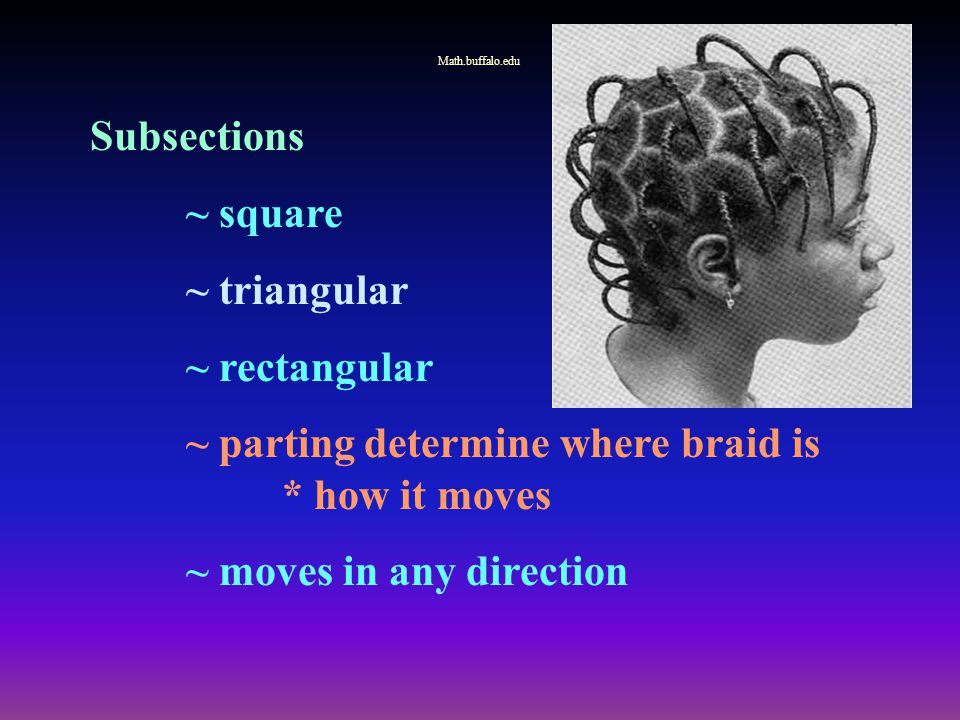 Subsections ~ square ~ triangular ~ rectangular ~ parting determine where braid is * how it moves ~ moves in any direction Math.buffalo.edu