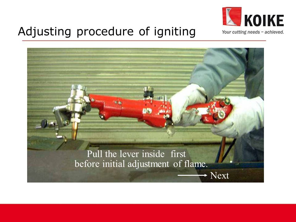Adjusting procedure of igniting Pull the lever inside first before initial adjustment of flame.