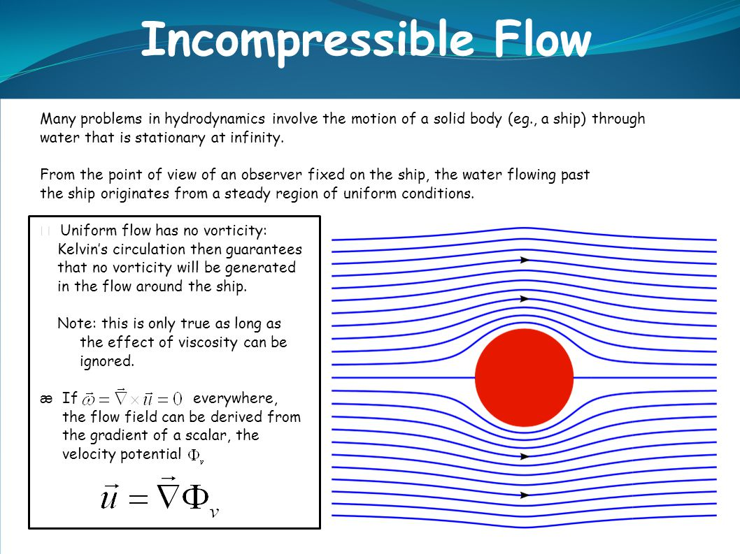 Many problems in hydrodynamics involve the motion of a solid body (eg., a ship) through water that is stationary at infinity.