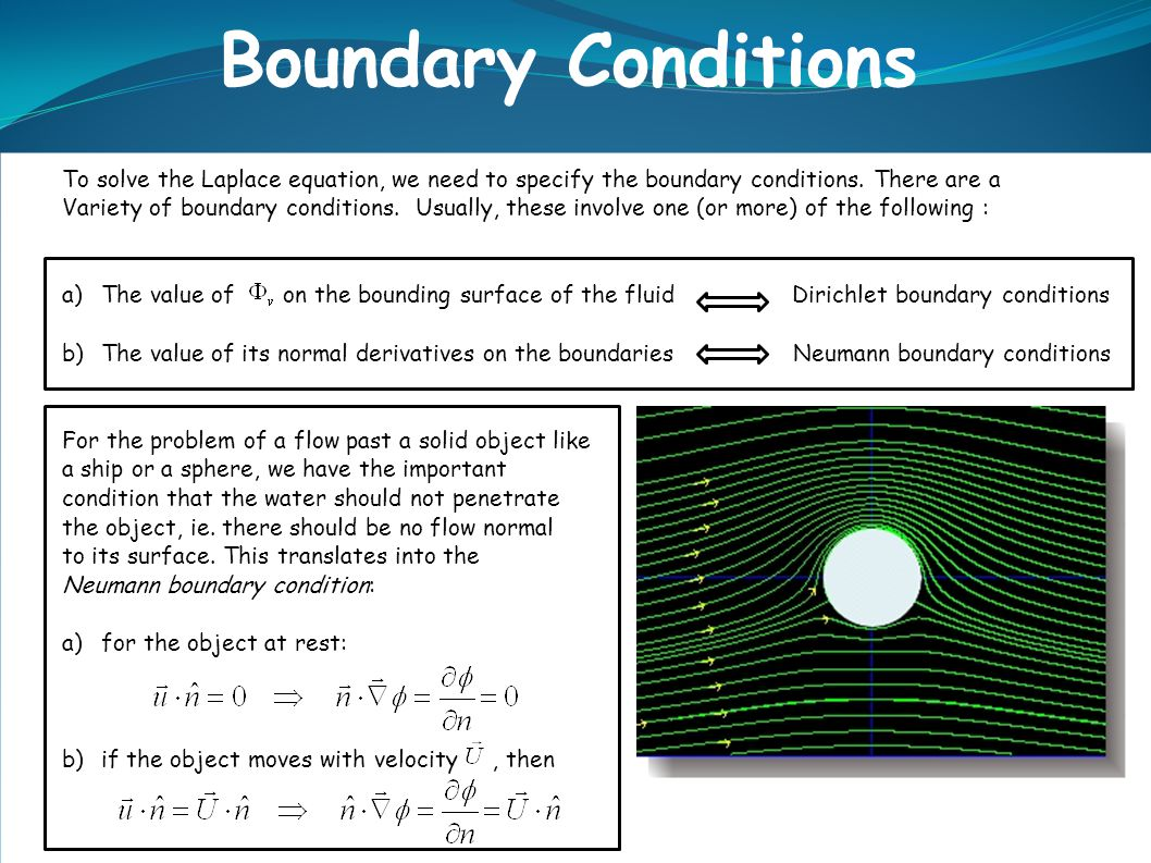 To solve the Laplace equation, we need to specify the boundary conditions.