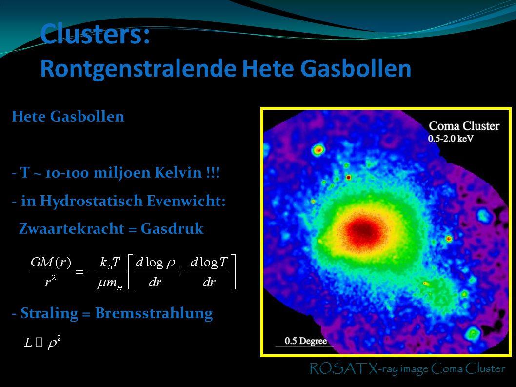 Clusters: Rontgenstralende Hete Gasbollen M51 ROSAT X-ray image Coma Cluster Hete Gasbollen - T ~ 10-100 miljoen Kelvin !!! - in Hydrostatisch Evenwic
