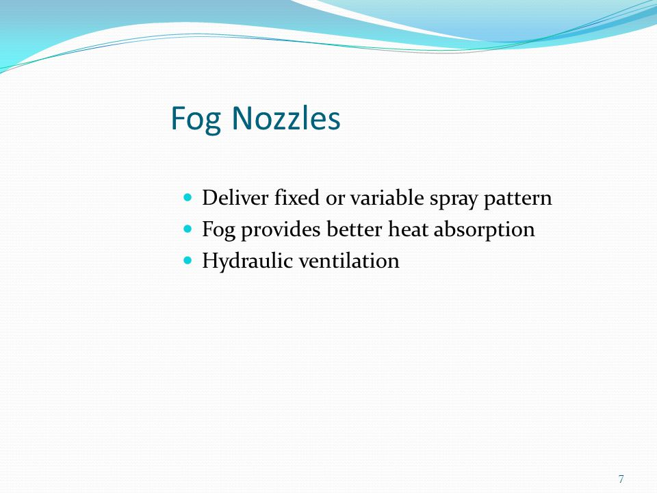 Variable combination fog nozzle patterns.