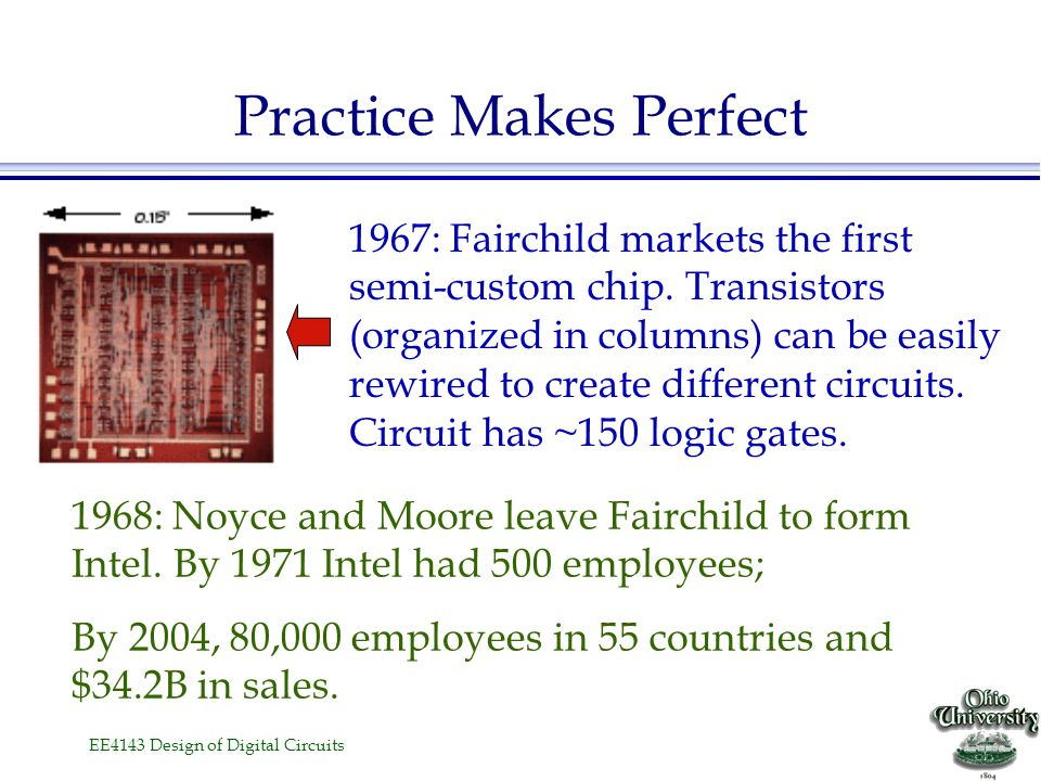 EE4143 Design of Digital Circuits Practice Makes Perfect 1961: TI and Fairchild introduced first logic IC's (cost ~ $50 in quantity!). This is a dual