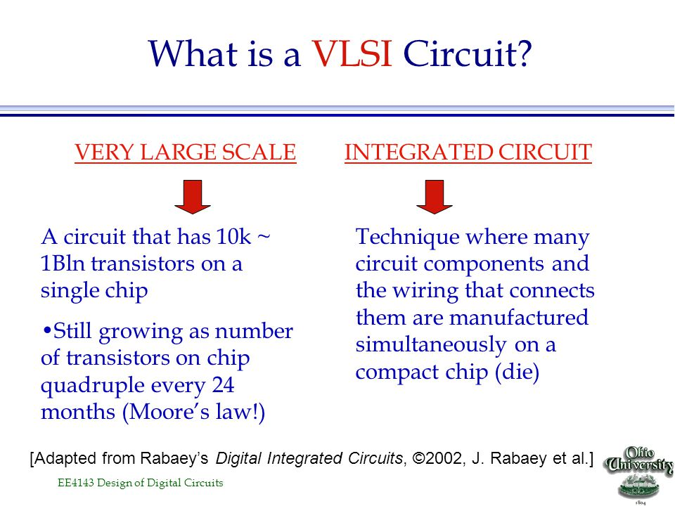 EE4143 Design of Digital Circuits l What is meant by VLSI? l Brief history of evolution l Today's Chips l Moore's Law l Digital circuit applications l