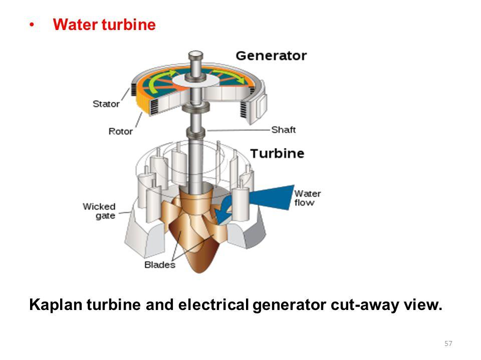 57 Water turbine Kaplan turbine and electrical generator cut-away view.