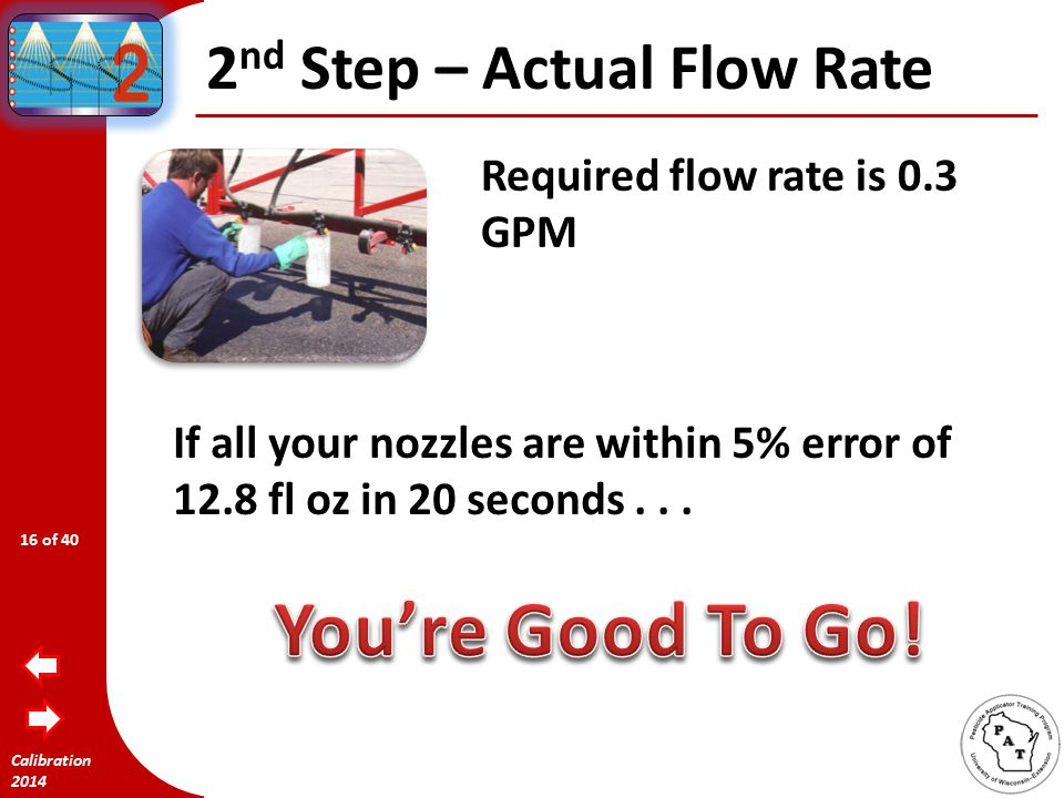 Calibration 2014 1 st Step – Determine Flow Rate GPM = MPH x GPA x W 5940 Example: Wish to spray Whoop-IT.