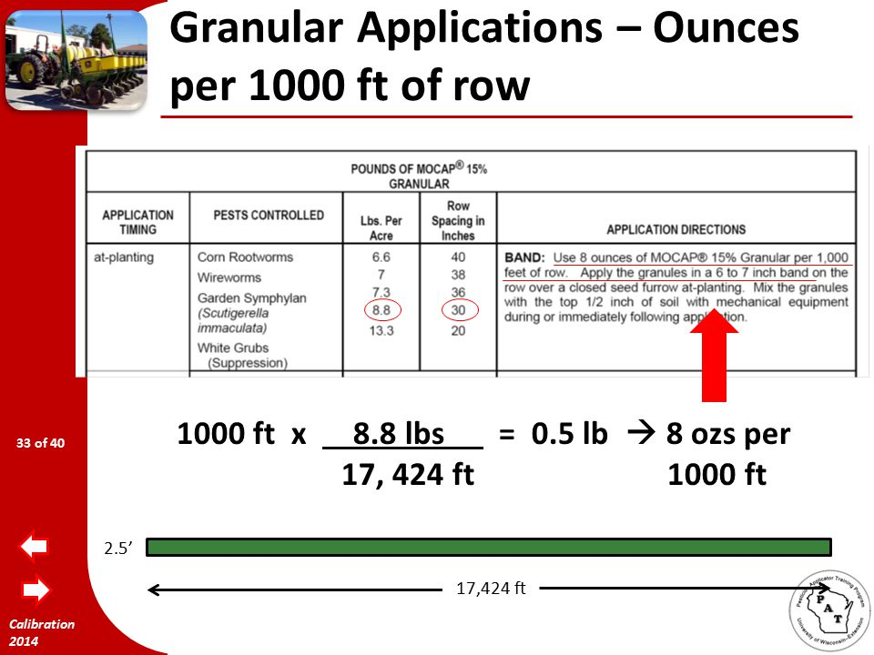 Calibration 2014 Granular Applications – Ounces per 1000 ft of row 30 row  2.5 ft  43560 ft 2 = 17,424 ft long 2.5 ft for an acre 2.5' 17,424 ft 32 of 40