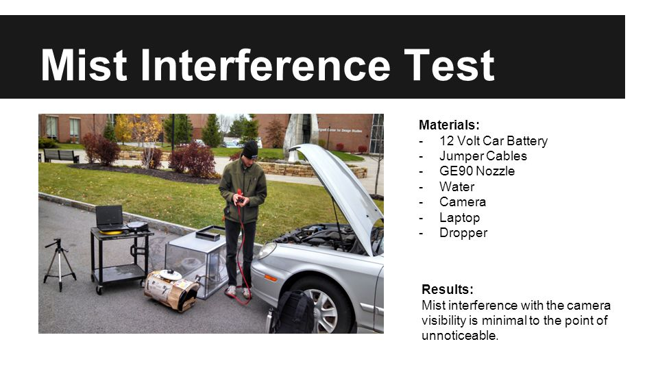 Mist Interference Test Materials: -12 Volt Car Battery -Jumper Cables -GE90 Nozzle -Water -Camera -Laptop -Dropper Results: Mist interference with the camera visibility is minimal to the point of unnoticeable.