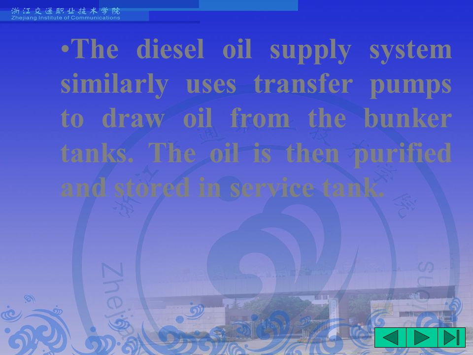 The diesel oil supply system similarly uses transfer pumps to draw oil from the bunker tanks.