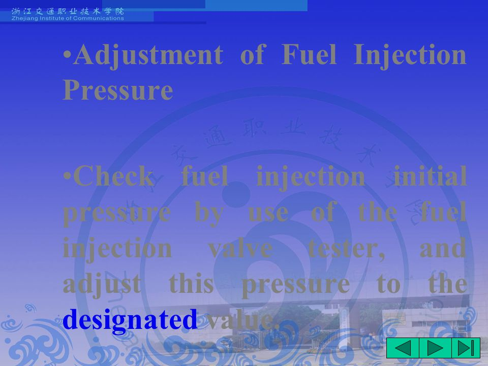 Adjustment of Fuel Injection Pressure Check fuel injection initial pressure by use of the fuel injection valve tester, and adjust this pressure to the designated value.