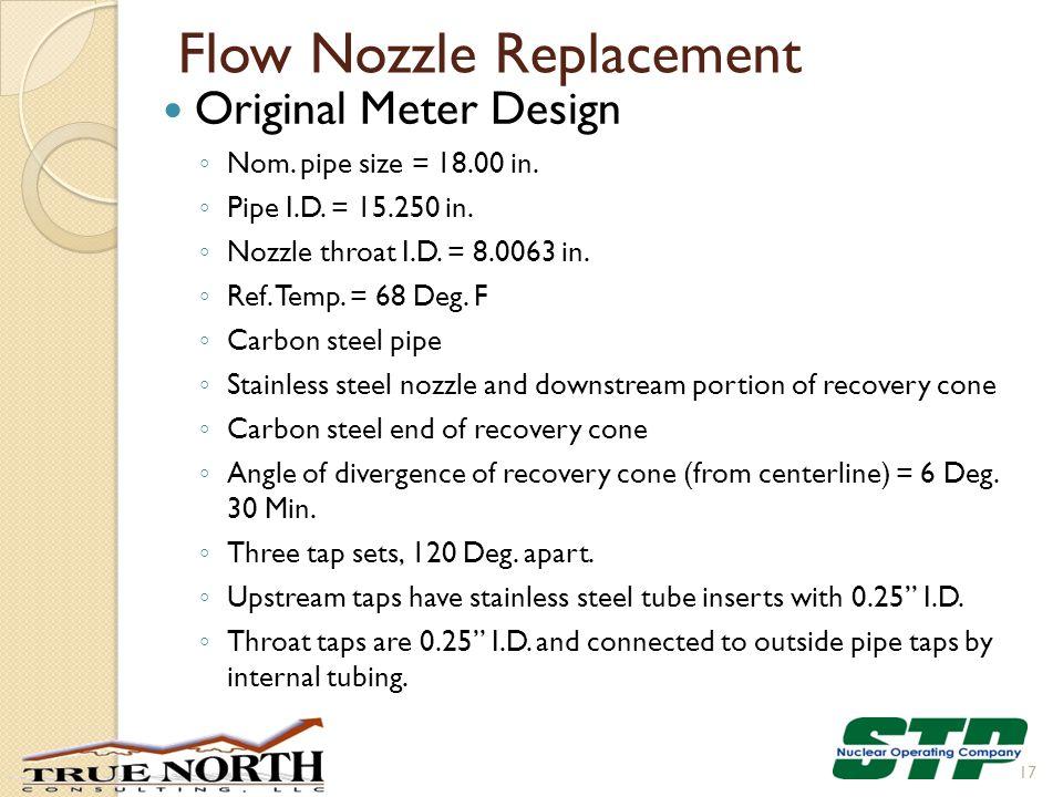 Flow Nozzle Replacement Original Meter Design ◦ Nom.