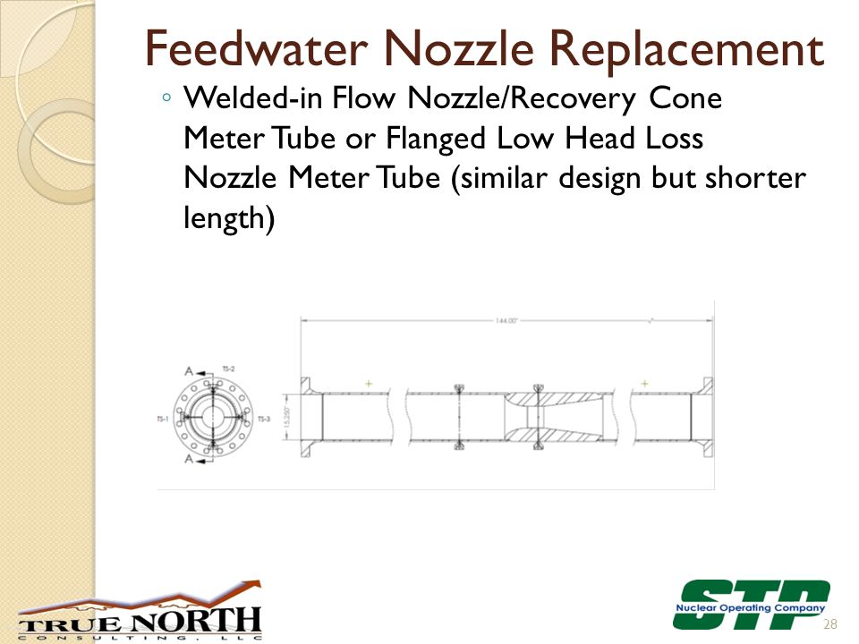 Feedwater Nozzle Replacement ◦ Welded-in Flow Nozzle/Recovery Cone Meter Tube or Flanged Low Head Loss Nozzle Meter Tube (similar design but shorter l