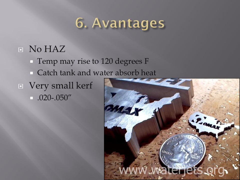  No HAZ  Temp may rise to 120 degrees F  Catch tank and water absorb heat  Very small kerf .020-.050