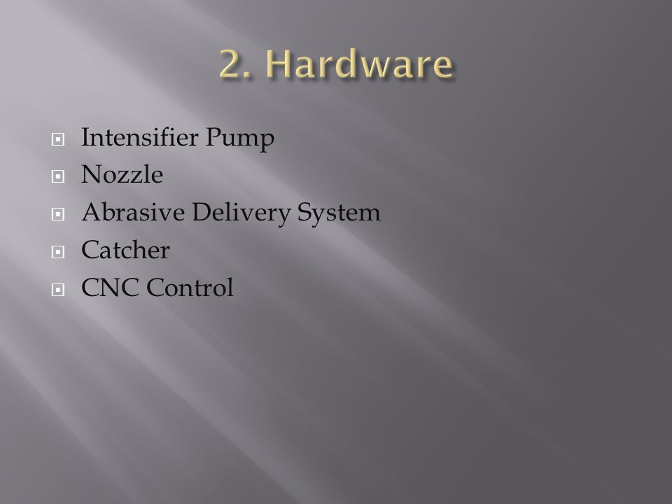  Intensifier Pump  Nozzle  Abrasive Delivery System  Catcher  CNC Control