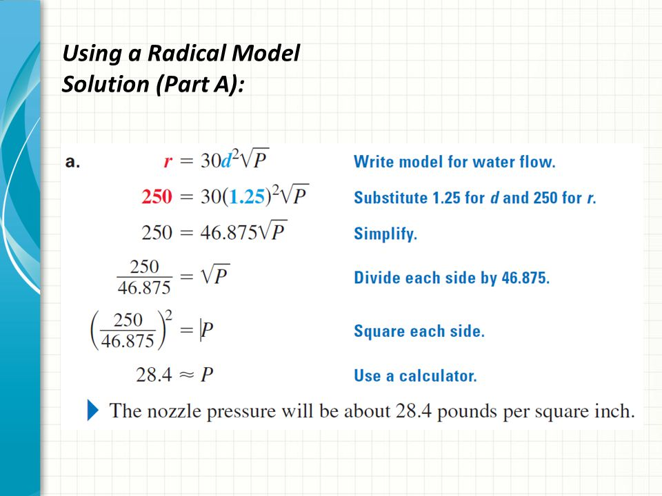 Using a Radical Model Solution (Parts B & C):