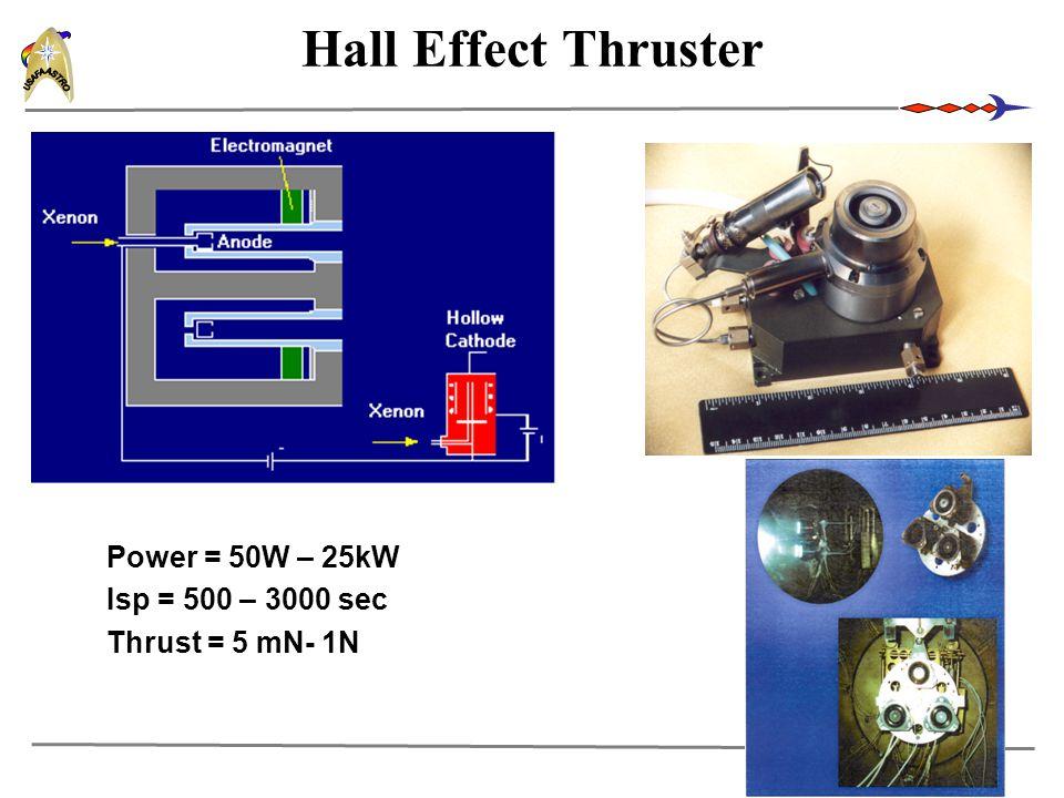 17 Hall Effect Thruster Power = 50W – 25kW Isp = 500 – 3000 sec Thrust = 5 mN- 1N
