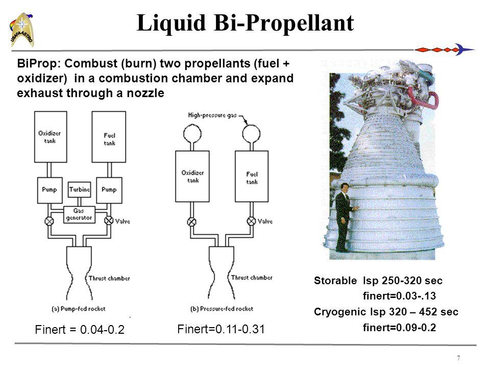 7 Liquid Bi-Propellant StorableIsp 250-320 sec finert=0.03-.13 Cryogenic Isp 320 – 452 sec finert=0.09-0.2 BiProp: Combust (burn) two propellants (fue