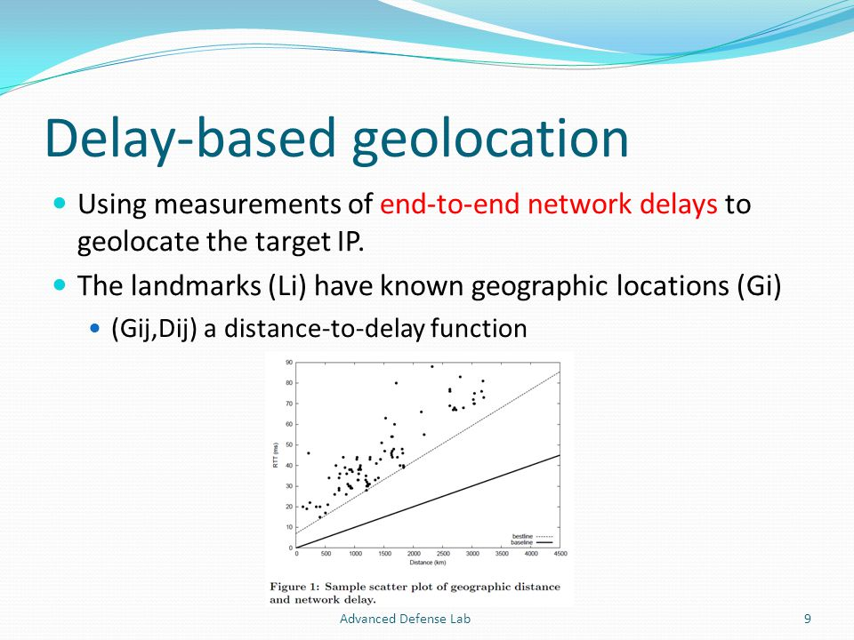 Delay-based geolocation Using measurements of end-to-end network delays to geolocate the target IP.