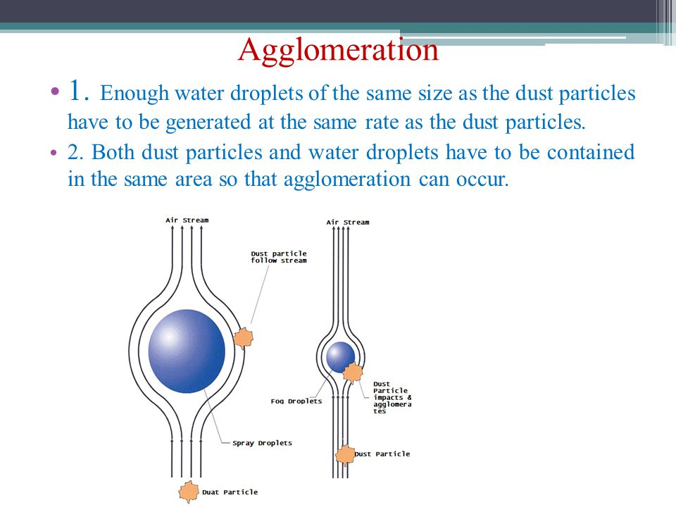 Agglomeration 1. Enough water droplets of the same size as the dust particles have to be generated at the same rate as the dust particles. 2. Both dus