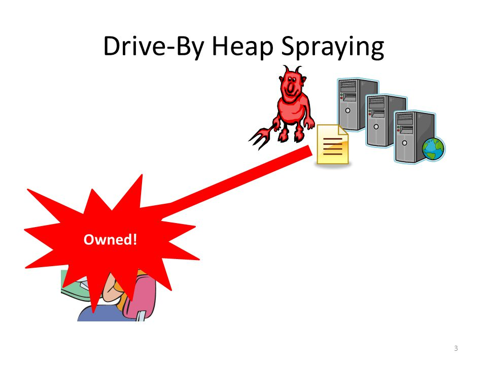 Drive-By Heap Spraying (2) 4 shellcode = unescape( %u4343%u4343%... ); <IFRAME SRC=file://BBBBBBBBBBBBBBBBBBBBBBBBBBBBBBBBBB … NAME= CCCCCCCCCCCCCCCCCCCCCCCCCCCCCCCCCCCCCCCC …  > ok bad ok Creates the malicious object Triggers the jump Program Heap ASLR prevents the attack PC